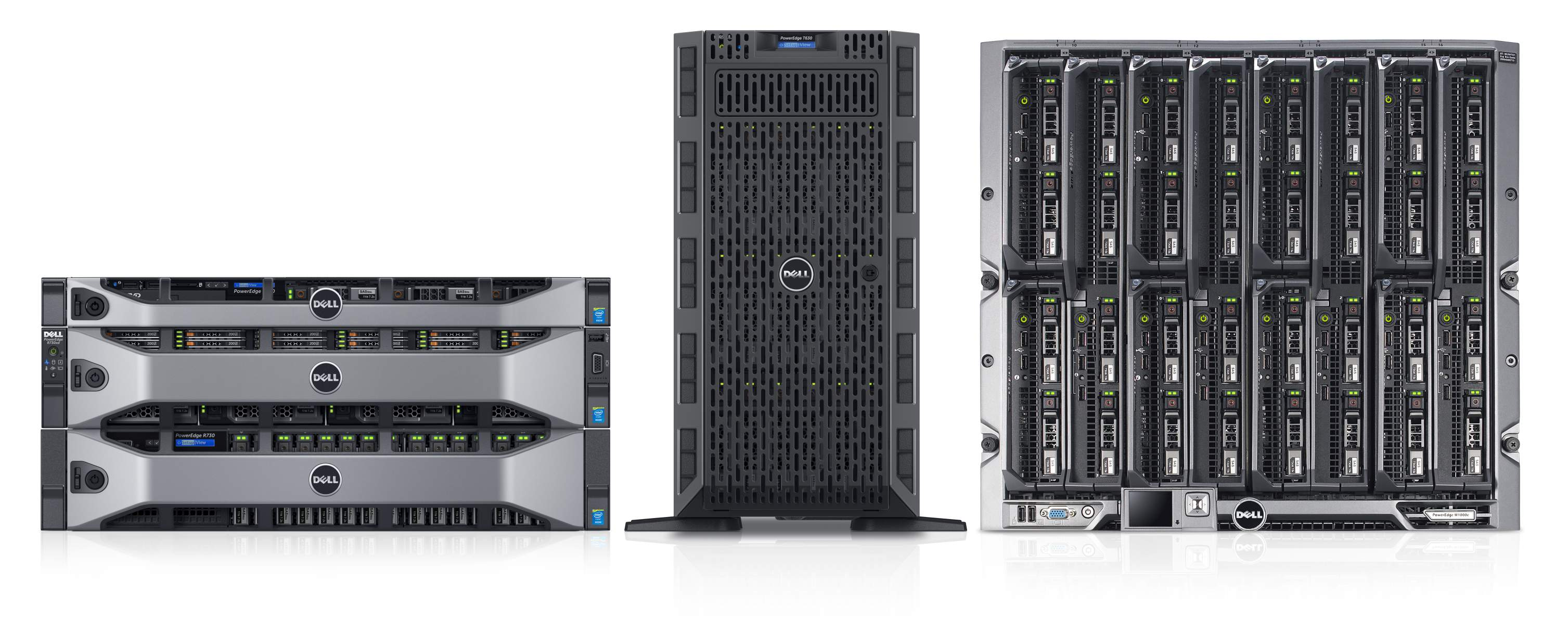 Dell PowerEdge 13G server family, featuring stacked Dell PowerEdge R630 (2.5-inch drives), R730xd (1.8-inch drives), and R730 (2.5-inch drives) rack servers with bezels, next to a Dell PowerEdge T630 (3.5-inch hard drives) tower server and a Dell PowerEdge M1000e blade server enclosure, populated with PowerEdge M710 and M610 blade servers.